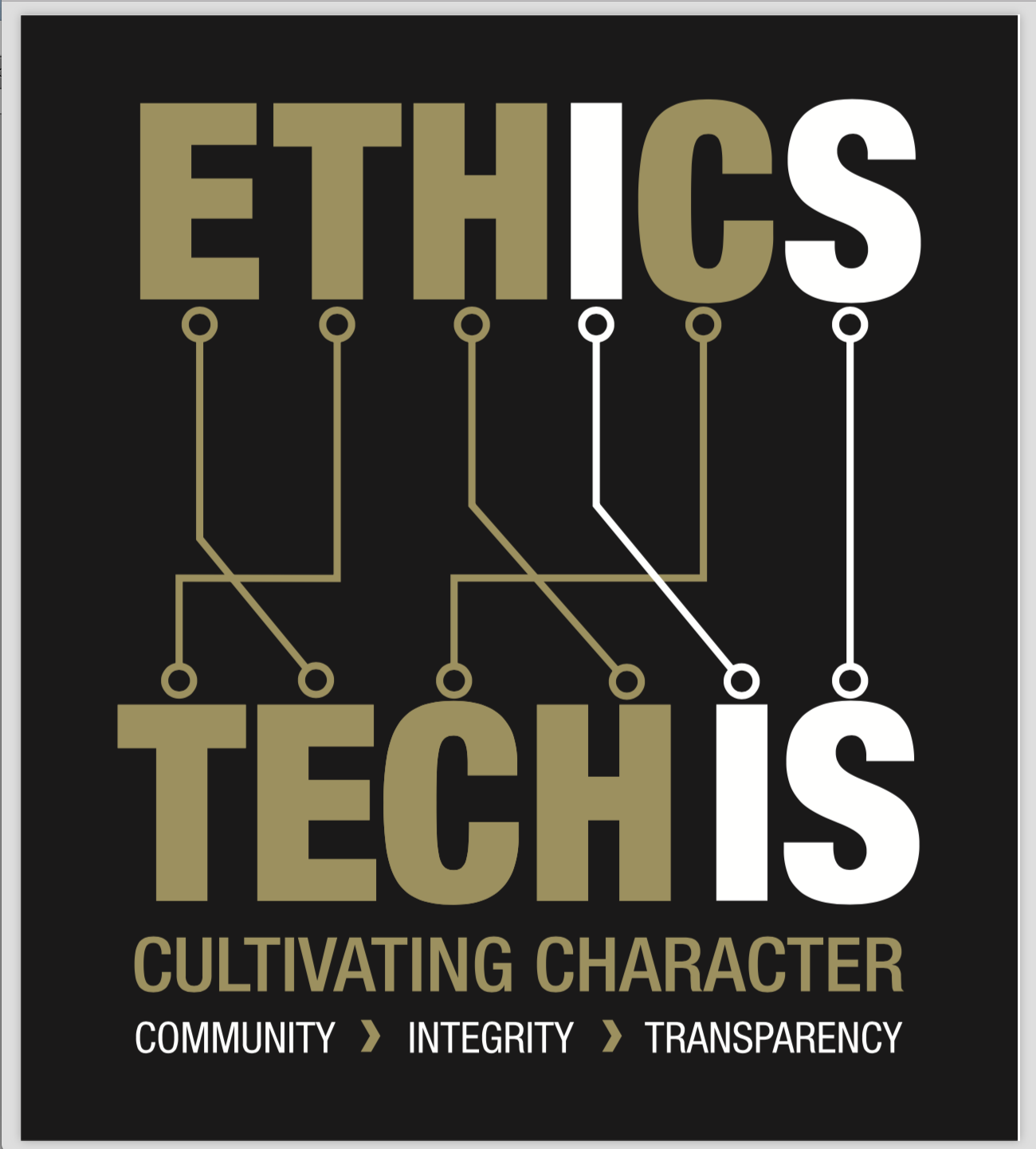 Anagram logo that rearranges the letter of ETHICS to TECH IS