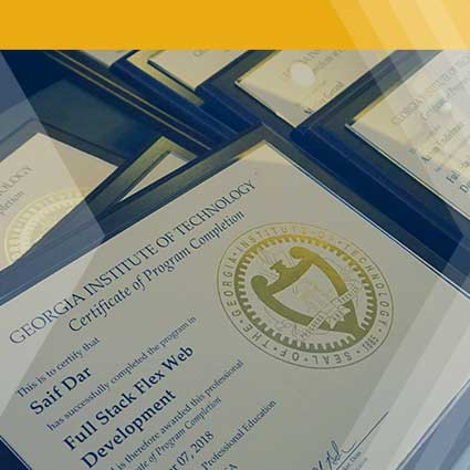 Georgia Tech certificates laid out on table