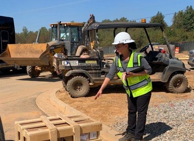 Meilin Hernandez, working on construction site