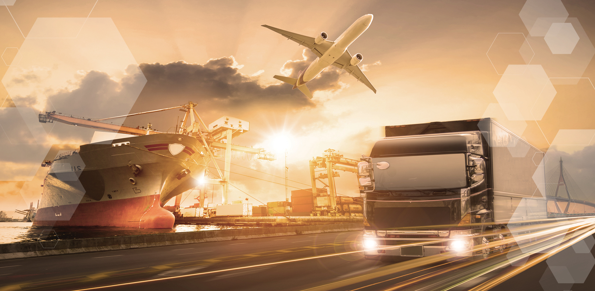 Several modes of transportation in supply chain, including an airplane in the sky, a large truck on a highway, a ship in a port, and shipping containers in the background.