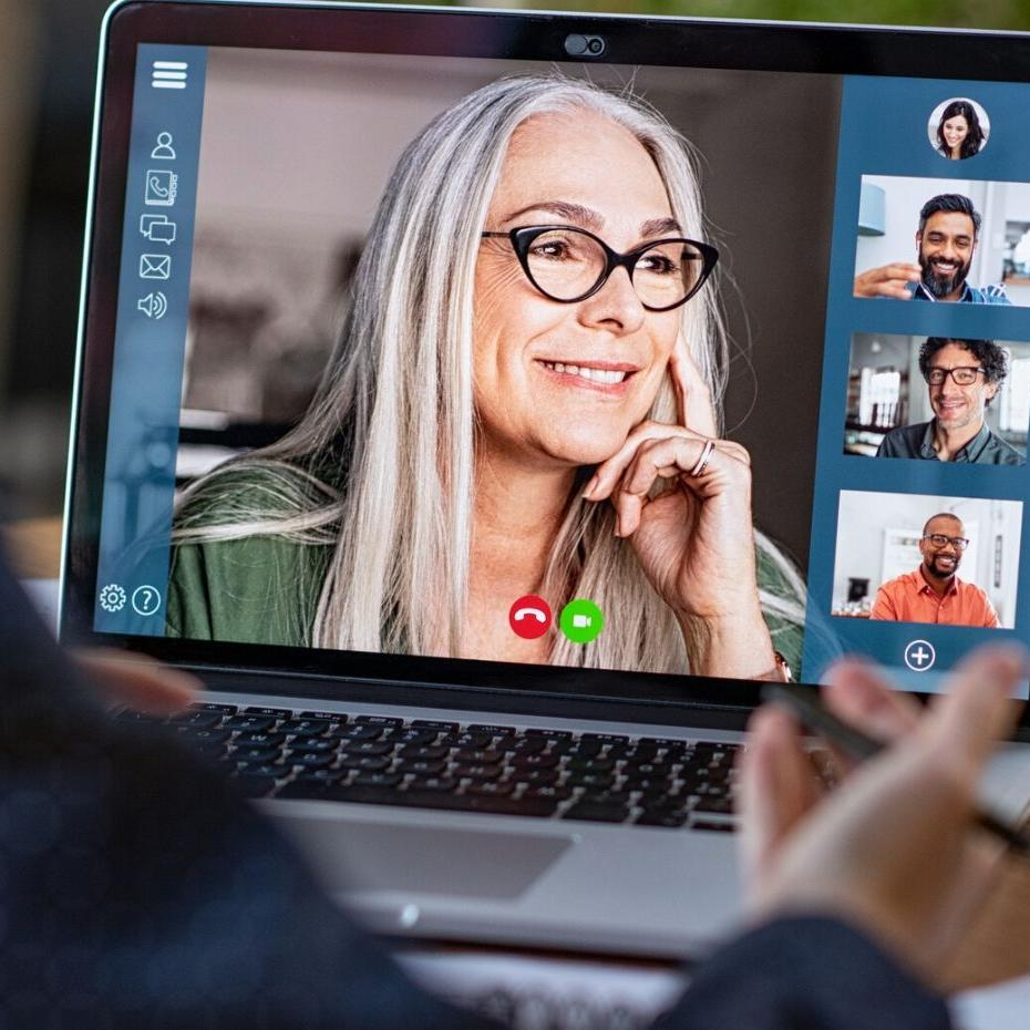 Inclusive leader running a virtual meeting with diverse team