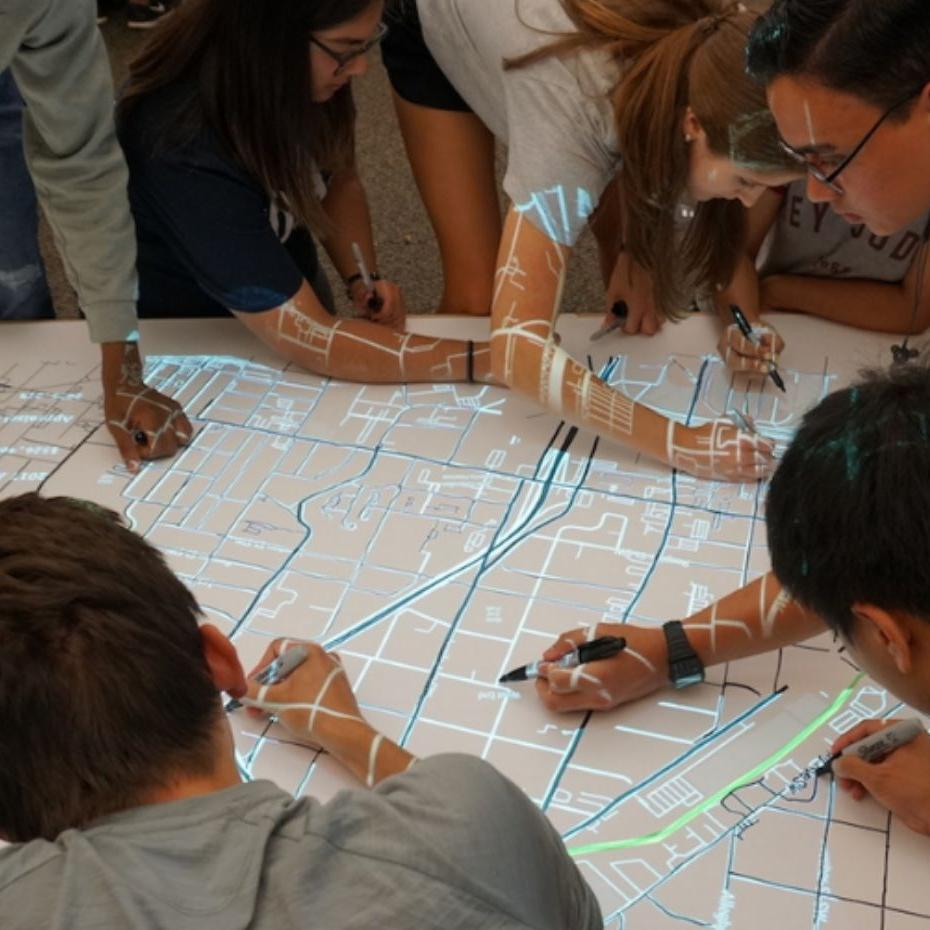 Georgia Tech students testing out an early version of the Map Spot tool